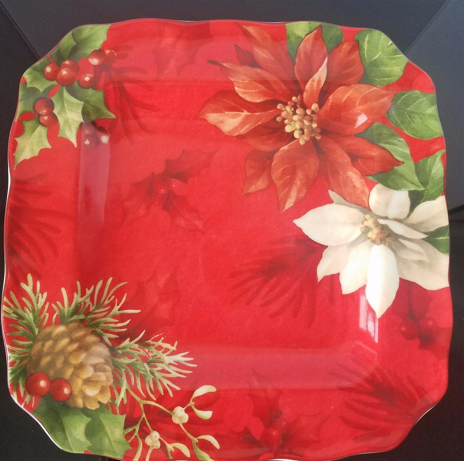 222 Fifth Poinsettia Holly Dinner Plate Set de 8 NEUF