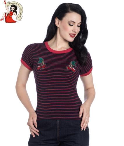 Hell Bunny Ellie T-shirt top 50 S Cherry Rockabilly Noir /& à Rayures Rouge XS-4XL