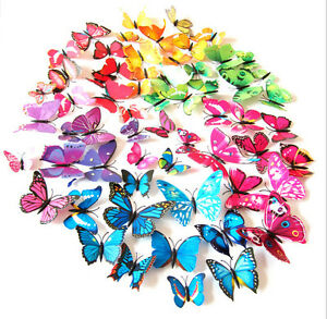 12PCS-3D-4-Color-Butterfly-Art-Design-Decal-Wall-Stickers-Home-Room-Decorations