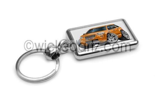 RetroArtz Cartoon Car Land Rover Freelander in Gold Premium Metal Key Ring
