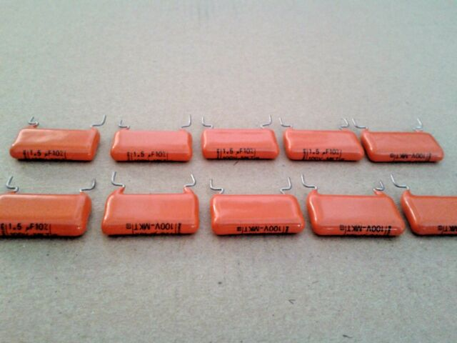 10x NOS PHILIPS MKT368 1.5uF 100V ORANGE DROP AUDIO GUITAR TONE CAPS !