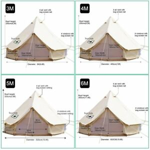 Bell Tent 100/% Cotton Canvas Waterproof Large Tents for Family Camping 4 Season Waterproof Outdoors Yurt Bell Tent Glamping