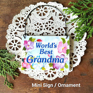 DecoWords-Mini-Sign-World-039-s-BEST-GRANDMA-Wooden-Ornament-Everyday-Deco-USA-New