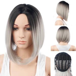 Damen Echthaar Perücke Kurz Bob Gerader Pony Haaren Perücken Wig