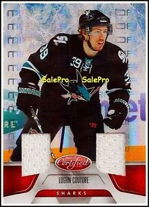LEAF-CERTIFIED-2011-LOGAN-COUTURE-NHL-SHARKS-RED-MIRROR-DUAL-GAME-JERSEY-150