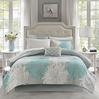 Ultra Soft Modern Chic Aqua Light Blue Teal Grey White Comforter