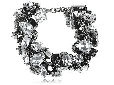 Chunky Sparkle Large Crystal Acrylic Rhinestone Bead Chain Link Fashion Bracelet