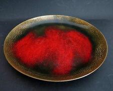 Teller / Schale vermute Kupfer Emaille Email enamel bowl dish rot schwarz gold