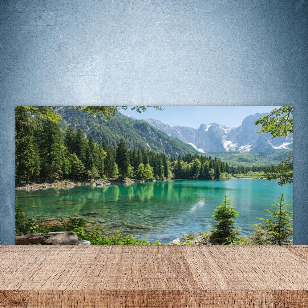 Crédence de cuisine en verre Panneau Paroi 100x50 Nature Montagnes Lac Forêt