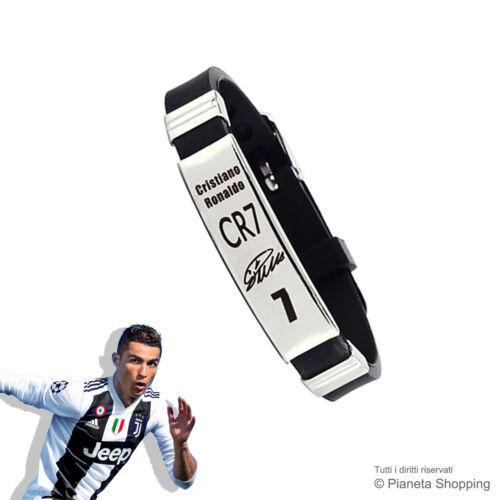 Bracciale Acciaio Uomo Cristiano Ronaldo CR7 Autografo Calcio Serie A Regolabile