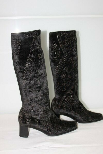 Boots Stretch and Embroidery golden T 36 Top Condition