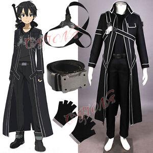 9b3f354edb6b8 Cafiona Hot Sword Art Online Kirito Kazuto Kirigay Cosplay Costume ...