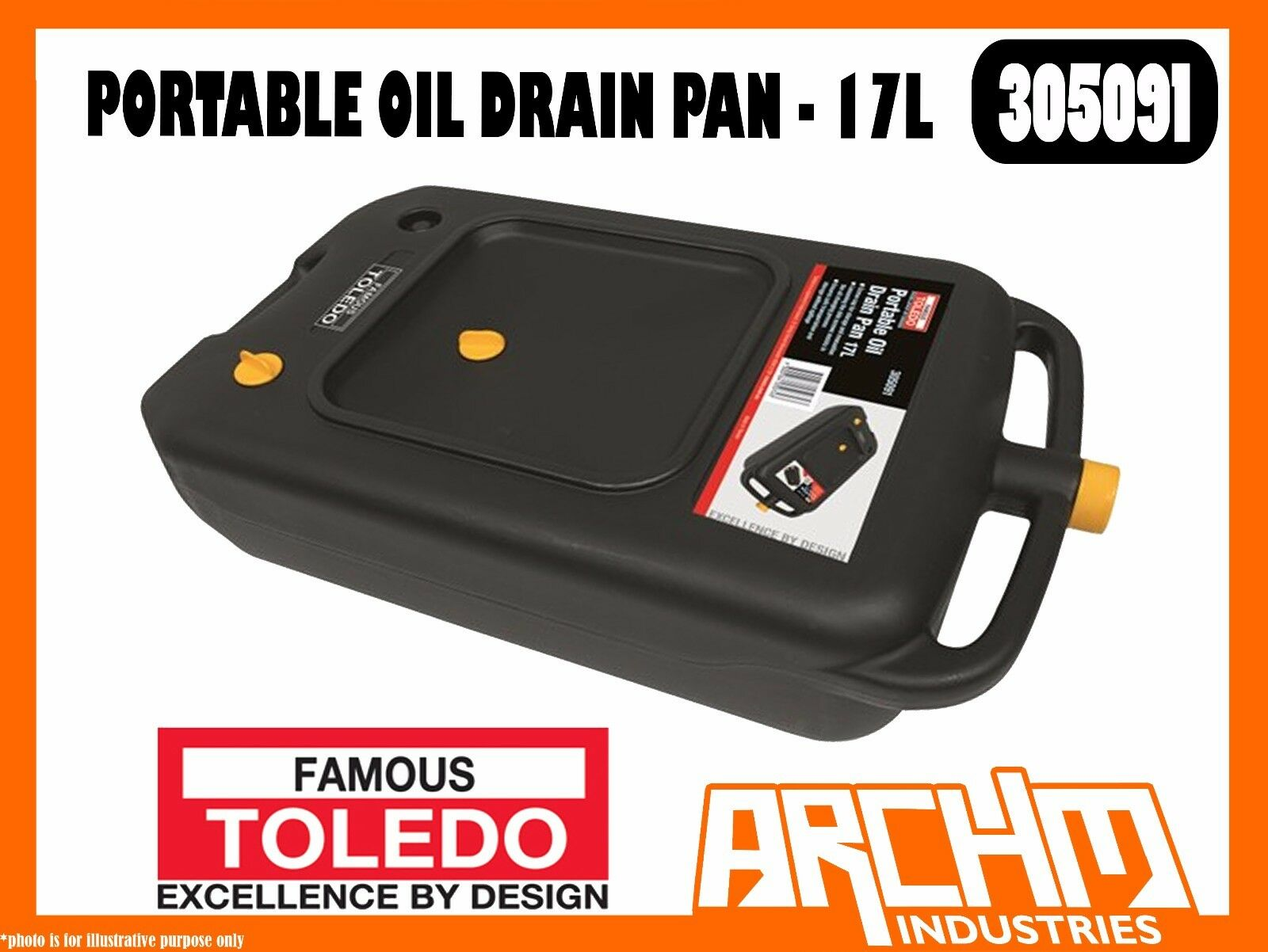 TOLEDO 305091 - PORTABLE OIL DRAIN PAN - 17L - STORAGE EVACUATION DURABLE