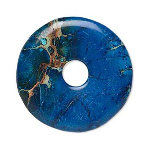 UK boutique  * 9219 Pendentif Focal Donut Magnésite Pierre Précieuse 40 mm Bleu