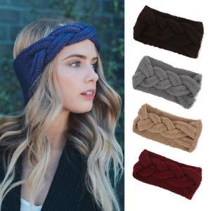 Women Winter Crochet Turban Knit Head Wrap Hairband Winter Ear Warm ... a018cf6a4fb