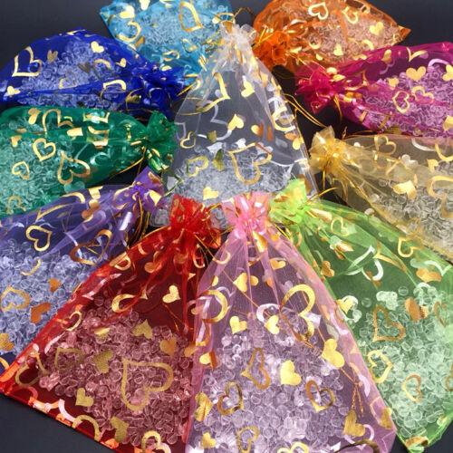 1//10//20//50//100pc Organza Jewelry Wedding Drawstring Candy Gift Pouch Storage Bag