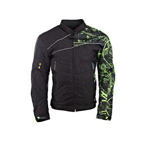 Mens-Motorcycle-Motorbike-Jacket-Waterproof-Textile-Cordura-Black-CE-Kawasaki