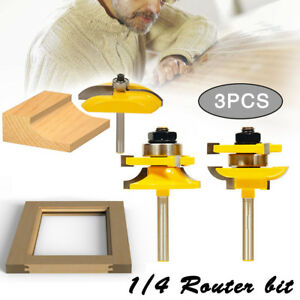 3pcs 1 4 shank ogee rail stile raised cutter panel cabinet rh ebay com cabinet maker router bit set Cabinet Door Router Bit Profiles