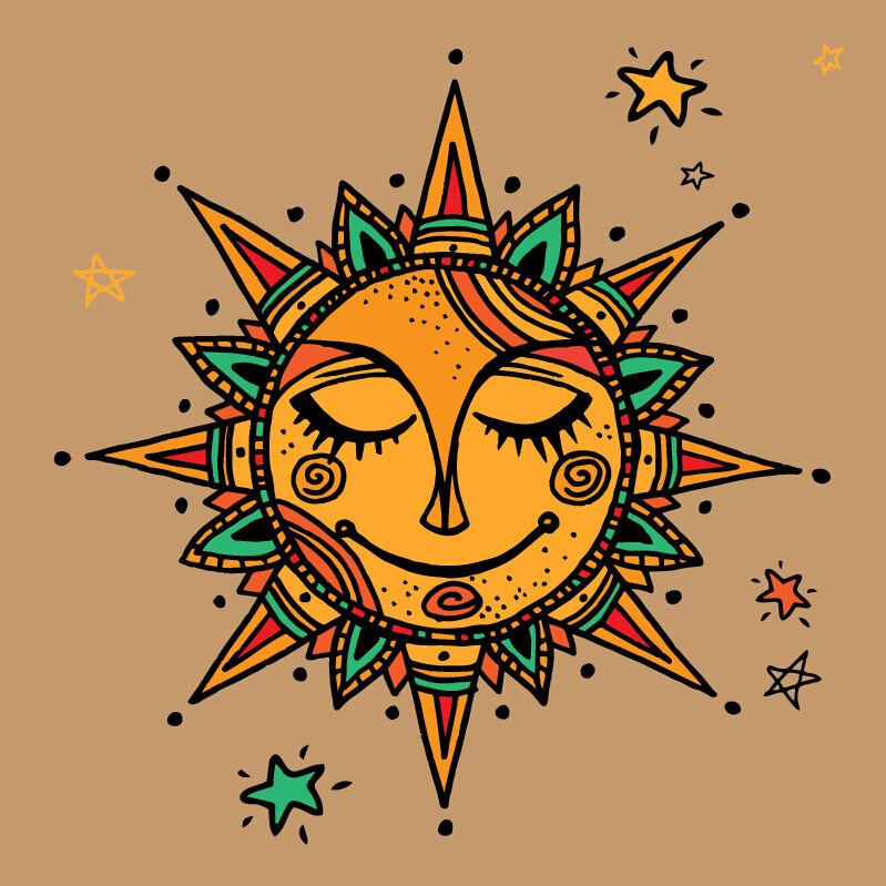 3D Sun god painting star Wall Stickers Vinyl Murals Wall Print Deco AJSTORE UK