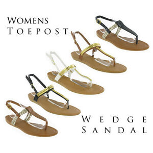 4e9fd62eb13 Toepost Small Wedge Flip Flop Buckle Summer Womens Strappy Sandals ...