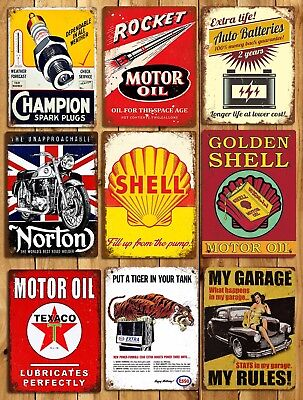 Metal sign plaque Vintage Retro Style My Garage My Rules MANCAVE Tin 20 x 15 cm