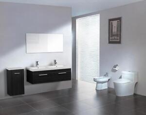 Mobile bagno doppio lavabo completo pensile 120cm wenge con specchio