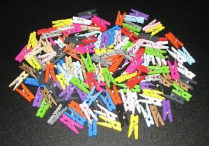 1-10-20-40-60-80-160-Mini-Pinces-a-Linge-en-bois-25-mm-16-couleurs