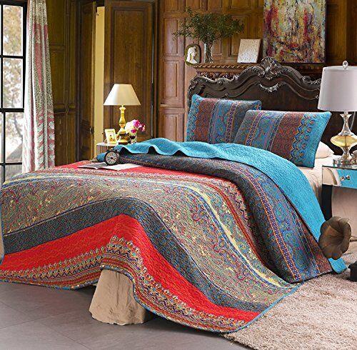 100% Cotton 3 Piece Paisley Boho Queen Size Quilt Set/bedspread Reversible
