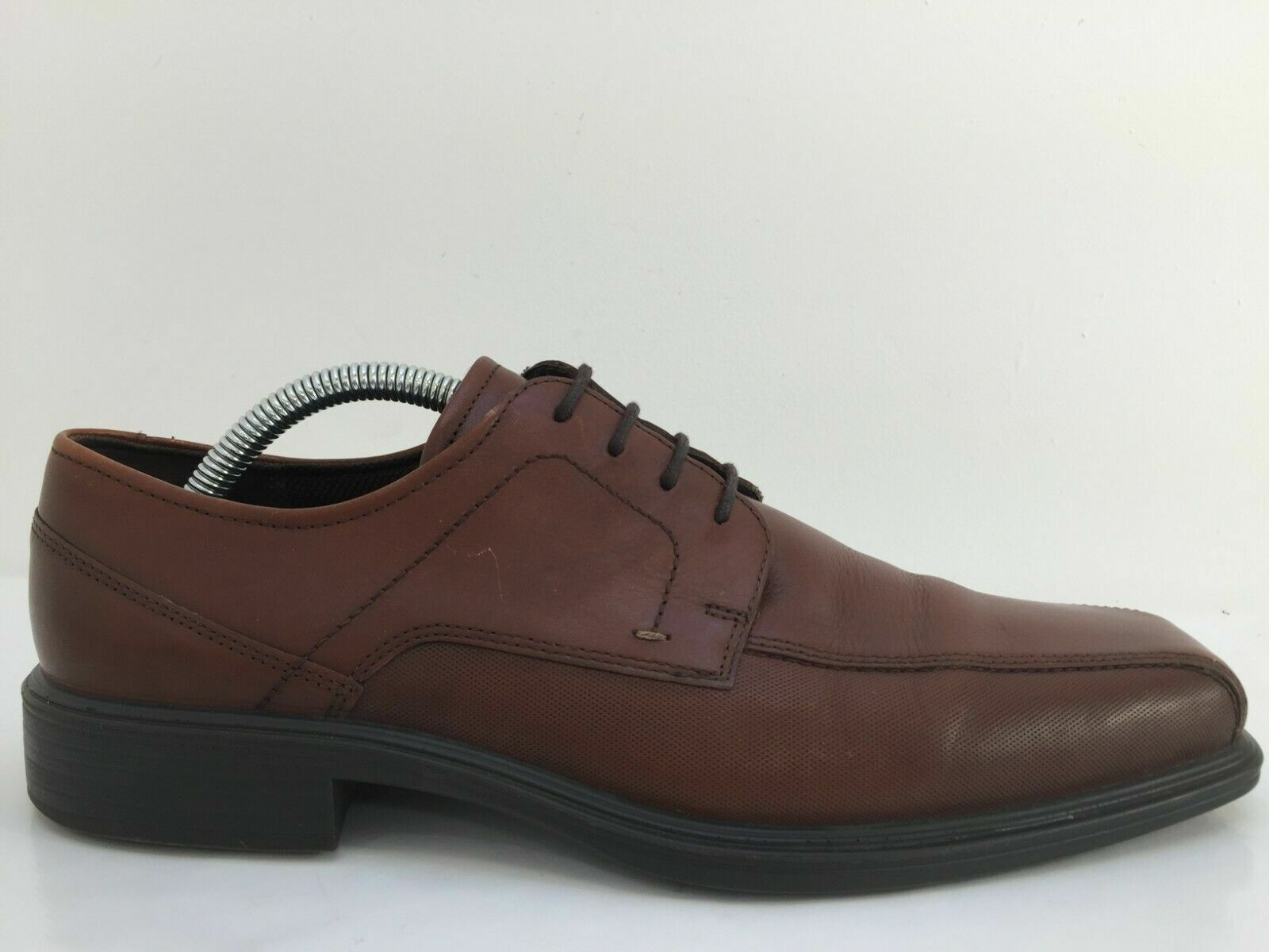Ecco Brown Leather Lace Moccasin Lace Up Shoe Mens Size UK 7 Eur 41