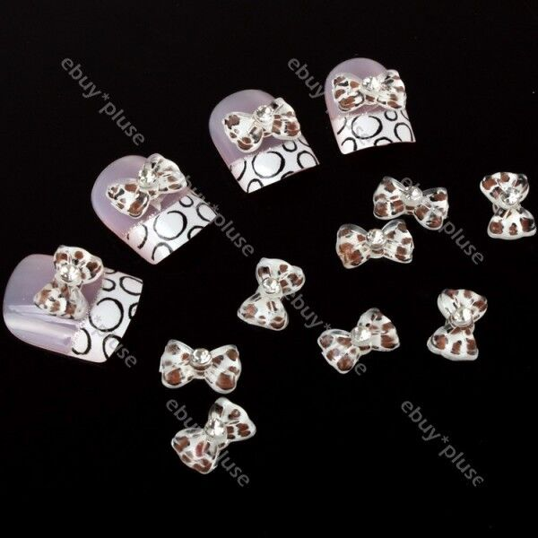 New 20 Acrylic Rhinestones 3D Bow Tie Glitters Beads Nail Art DIY Decoration N-2