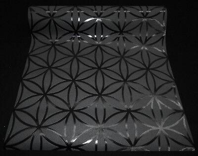 6 Rollen hochwertige Vliestapeten coole Retro-Design schwarz silber 13270-10-16