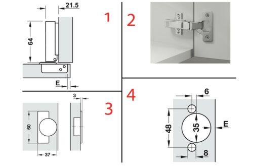 Häfele 2 x Topfscharnier Möbelscharnier Metalla SM Kombi 110° mit Kreuzplatten