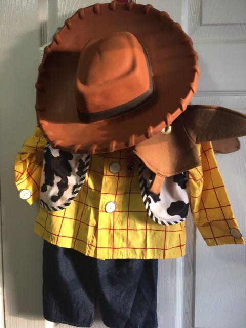 DISNEY STORE TOY STORY WOODY COSTUME size XXS 2-3 HAT Halloween