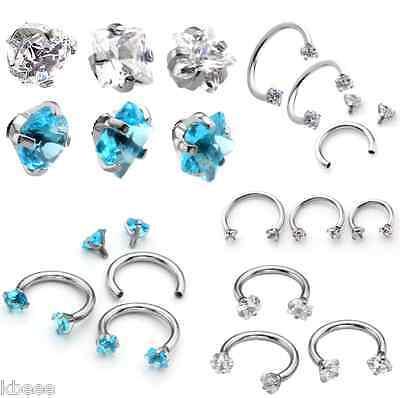 16G CZ Gem Steel Nose Lip Eyebrow Ear Cartilage Helix Captive Hoop Ring Piercing