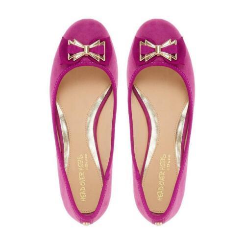 Dune Head Over Heels Brume Rose Micro Fibre Bow Ballet Plates Ballerine Chaussures