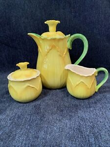 Vintage-Taste-Setter-By-Sigma-Daffodil-Tea-Pot-Cream-And-Sugar-Set