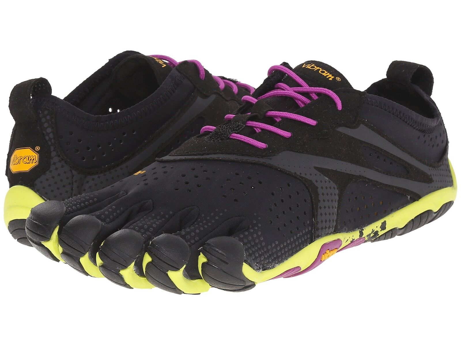 Vibram V-Run cinq doigts Noir Jaune Violet Femme Chaussures De Course
