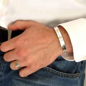 Image Is Loading Engraved Mens Bracelets Personalized Sterling Silver Cuff For