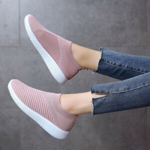 Women-Slip-On-Sneakers-Trainers-Ladies-Mesh-Breathable-Sports-Loafers-Shoes-Size