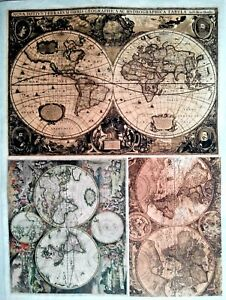 RICE DECOUPAGE PAPER / OLD MAPS / CRAFT PAPER / DECOUPAGE SHEETS ...