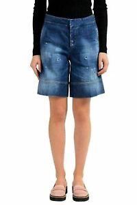 Dsquared2-Blue-Distressed-Women-039-s-Denim-Casual-Shorts-US-XS-IT-38