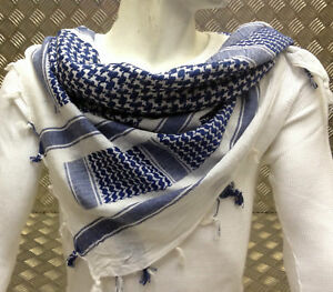 100-Cotton-Shemagh-Arab-Scarf-Pashmina-Wrap-Sarong-Blue-on-White-NEW