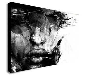 ABSTRACT BLACK AND WHITE FEMALE FACE Canvas Wall Art Print ...