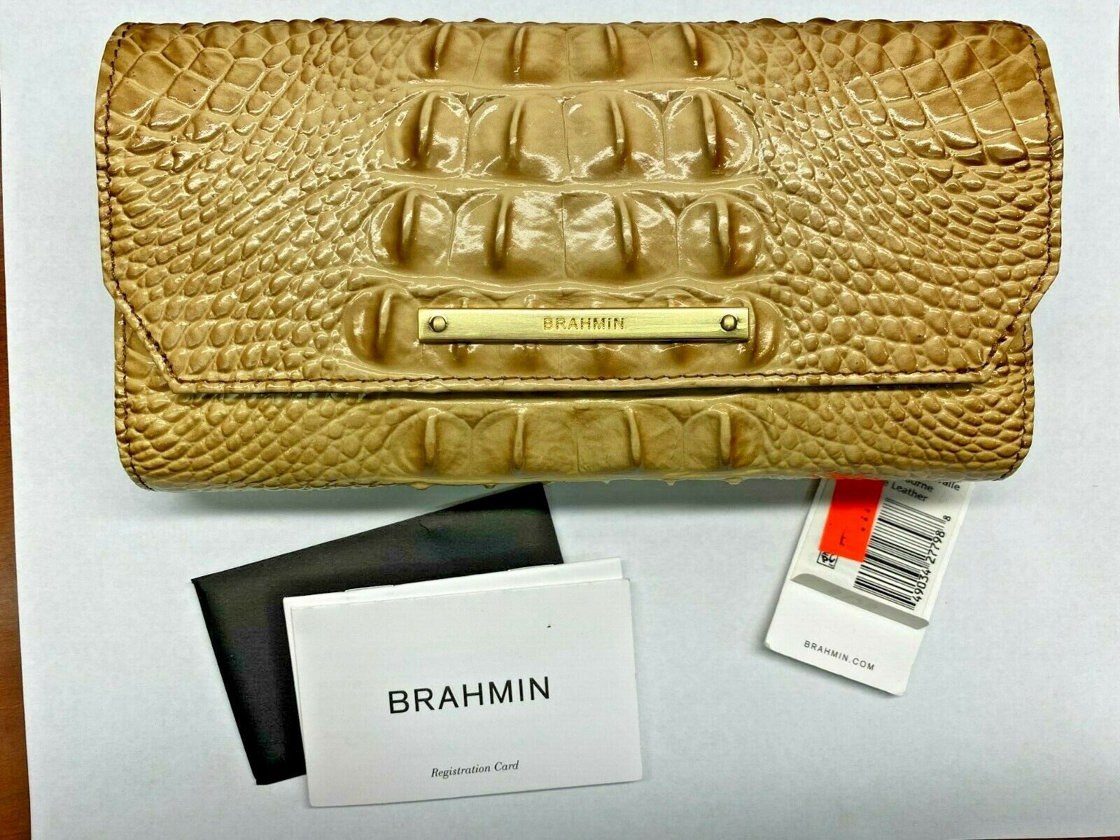 NWT Brahmin Soft Checkbook Wallet CHINO light brown melbourne Genuine Leather