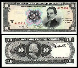 EL SALVADOR 10 COLONES 1983 P 135  UNC ***