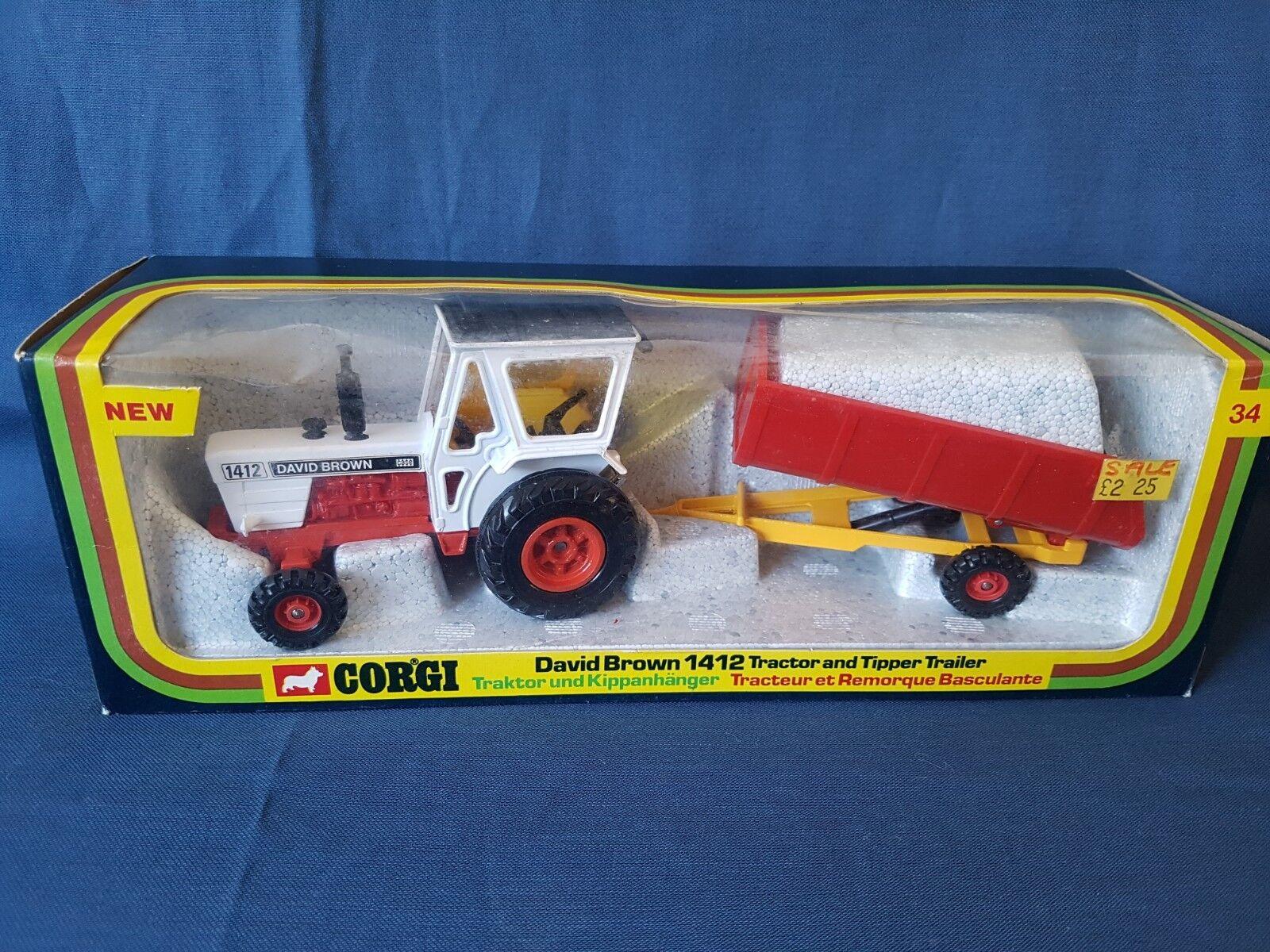 CORGI TOYS MODEL No.GS34  David marron  1412 tracteur & remorque basculante En parfait état, dans sa boîte