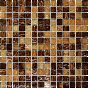 Light Brown Iridescent Mosaic Tile Sample Backsplash