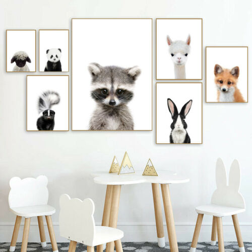 Alpaca Panda Bunny Animal Nusery Poster Canvas Art Print Baby Bedroom Decoration
