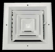 "6"" CEILING AC DIFFUSER Square White Aluminum 4-Way Duct Cover Air Vent HVAC"