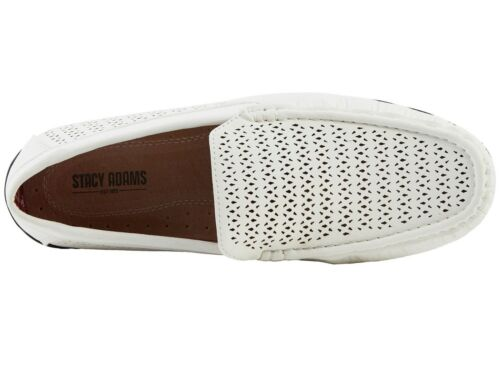 1e89a3eb106 6 of 7 Stacy Adams CICERO Mens White 25172-100 Moc Toe Slip-On Driving  Style Loafers